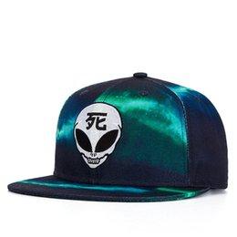 Wholesale Skull Print Hat - Summer Style Snapback Gorras Hat Bon Flat Brimmed Baseball Cap 3D Print Skull Embroidery Adjustable Hip hop Trucker Bone Caps