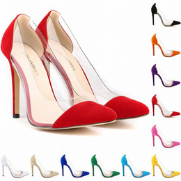 Wholesale Women Size 11 Wedge Shoes - Womens Leather VELVET High Heels Corset Pointed Toe Party Pumps Ladies Wedding Shoes US Size 4-11 302-27VE