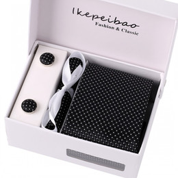 Wholesale Customs Weaves - Ikepeibao 2017 new Classic Striped Black Mens Tie Cufflink Hanky Set Custom Brand Gravata Corbatas Jacquard for Men Business Wedding