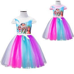Wholesale Print Wholesale Bows - Moana Toddler Dresses Cartoon Cosplay Girls Party Dresses Short Sleeve Colorful Bow Bubble Skirts Princess Printed Dresses