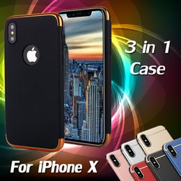 Wholesale Iphone Case Slim Armor - 3 in 1 Case Matte Frosted Plating Slim Shockproof Full Hard Plastic Armor Cover Case For iPhone X 8 7 Plus 6 6S Samsung Galaxy S9 S8 Note 8