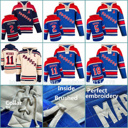 Wholesale Leetch Rangers Jersey - Mens Stitched Sweatshirts New York Rangers Jerseys Hoodies 2 Brian Leetch 5 Dan Girardi 11 Mark Messier 18 Marc Staal Hockey Jersey Hoodie