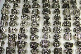 Art und Weise neue heiße Mischmann-Weinlese-Tibet-Silber überzogene Ringe für Mann-Großhandelsschmucksache-Massen-Sätze verlost LR015 Freies Verschiffen von Fabrikanten