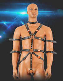 Wholesale Harness Body Sm - Faux Leather Fetish Bondage Dress With Handcuffs Cock Penis Ring Neck Collar Men Body Harness Sexy Costumes SM Slave Restraint