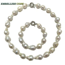 Wholesale Ladies Freshwater Pearl Necklace - necklace bracelet pearl set Normal size baroque keshi white nucleated flame fire ball shape real natural Freshwater pearl special for lady