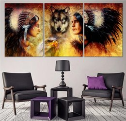 Wholesale People Wall Art - 3 Panel Indigenous People With Wolf All Art Picture Home Decoration Living Room Canvas Print Wall Picture Printing On Canvas