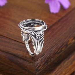 Wholesale Oval Vintage Ring - Art Deco 13x16mm Oval Cabochon Semi Mount Engagement Ring 925 Sterling Silver Antique Vintage Silver Semi Mount Ring Setting