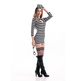 Wholesale Gangster Cosplay Costumes - Striped Prison Uniform Adult Women Sexy Long Sleeves Dress With Hat For Carnival Cosplay Party Costume