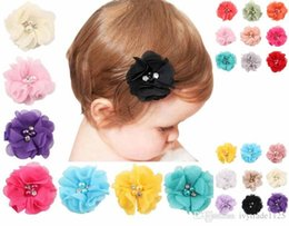 Wholesale Crystal Hair Clip Children - 18 colors baby girl colorful pearl crystal flower barrettes Design Hair Children Headwear Kids Hairpin Girls Hair Clips Hair Accessory