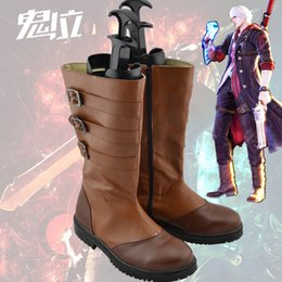 Wholesale Nero Cosplay - Wholesale-Devil May Cry 4 NERO ver 2 Cosplay Boots Shoes shoe boot #NC473 Custom made Hand made