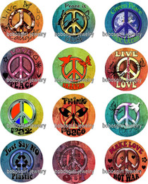 Wholesale love peace charms - Free shipping Anti-war peace glass Snap button Jewelry Charm Popper for Snap Jewelry good quality 12pcs   lot Gl348 jewelry making DIY