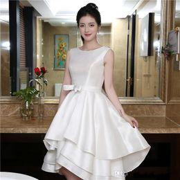 Wholesale Sleeveless Ruffle Shirt - White Short A-line Homecoming Dresses hi-lo jewel Graduation Dress Tiered Sheer sleeveless sexy backless prom dresses