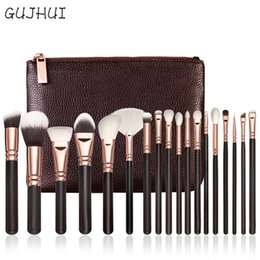 Wholesale Blend Powder - Hot Best Deal 18 Pcs Rose Gold Makeup Brushes Complete Eye Set Tools Powder Blending Brush Beauty Girl Cosmetic Tools Brushes Kit with Bag