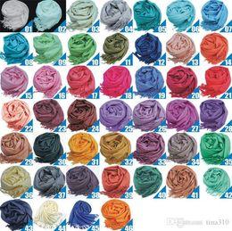 Wholesale Cashmere Ladies Scarfs Wholesale - New 46 colors Pashmina Cashmere Scarves Solid Shawl Wrap Women's Girls Ladies Scarfs Soft Fringes Solid Scarfs winter Scarf 4151