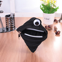 Wholesale Headphone Cartoons - new Eyed monster Zipper coin purses Cute mini headphone package admission package Simple designer naughty Mini Wallet