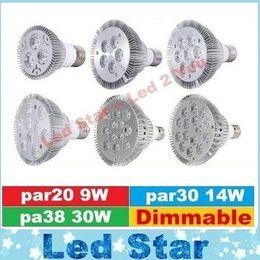 Wholesale E26 Led 14w - E27 E26 PAR20 PAR30 PAR38 led bulbs light 9W 10W 14W 18W 24W 36W Dimmable 110V 220V 3200K 4000K 6500K led spotights