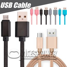 Wholesale chinese nylon cord - USB Cables Nylon Braided V8 Micro USB Data Line Sync Charger Cable Cord Weave Rope Cable Data Line For Smartphone Samsung