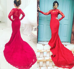 Wholesale Mermiad Dresses - Red High Neck Sheer Long Sleeves Prom Dresses 2016 Mermiad Full Lace Appliques Illusion Back Long Sweep Train Evening Gowns