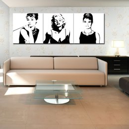 Wholesale Audrey Hepburn Decor - 3 Pieces Canvas Painting Marilyn Monroe and Audrey Hepburn Painting with Wooden Framed for Modern Home Wall Decor Ready to Hang Gifts