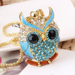 Wholesale Owl Pendant Pink - New Brand Charms Women 18K Gold Necklace Vintage Crystal Cubic Zircon Diamond Owl Necklaces&Pendants Fine Jewelry A073