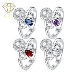 Wholesale Finger Promise Ring - Matching Promise Rings Beautiful Flower with 4 Color Styles Crystal Silver Plated Finger Ring Fashion Elegant Jewelry for Women