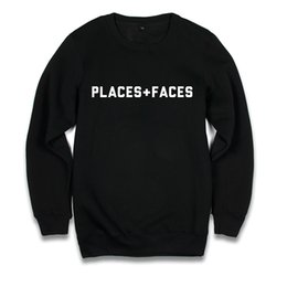 Wholesale Sweater Design Man - Places + Faces Crew Neck Sweatshirt Men Women Black Letters Print Oversized Hoodies Design Skateboard Pullover Sweaters HOG1203