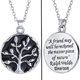 Wholesale Wholesale African Bags - OPP Bag Vintage Living Tree Necklace Ladies Popular Style Pendant Necklace Chains Black Necklace Collier Jewelry