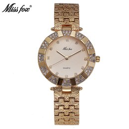 Wholesale champagne gems - Miss Fox Women Watch Luxury Brand Fashion Casual Ladies Gold Watch Quartz Simple Clock Relogio Feminino Reloj Mujer Montre Femme