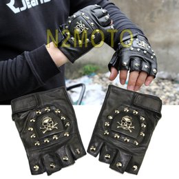 Wholesale Half Hand Leather Gloves - Wholesale- COOL PUNK STUDDED SKULL MOTORCYCLE LEATHER GLOVE FINGERLESS HAND PROTECTOR