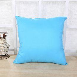 Wholesale Sofa Backrest - DHL Pull Plush solid pillow case Sofa backrest pillowslip 45*45cm 10 colors Soft cozy healthy with zipper