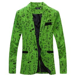 Wholesale Long Sleeved Blazer - Wholesale-Men's Floral Blazer Masculino Costume One-Button Casual Long-Sleeved Flower Suit Jacket Gentleman Small Fresh Suit 72207