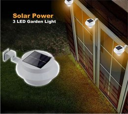 Wholesale Power Roof - 3 Leds Solar Powered Lamp Cool White Warm Light Waterproof Street Fence Garden Yard Roof Outdoor Wall Lamp