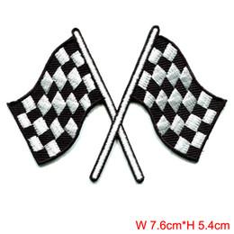 Drapeau à carreaux damier auto racing racing patch applique thermocollant bricolage accessoires de couture de tissu ? partir de fabricateur