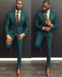Wholesale Slim Hot Plaid Suit - Green Custom Slim Fit Mens Business Suit Jacket + Pants + Tie Handsome Men's Suits Spring 2018 Hot Sell Wedding Suits Groom Ebelz Custom