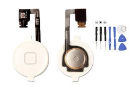 Wholesale Iphone 4s Key Home Button - Home Menu Button Key Cap Flex Cable Bracket Holder Set Assembly for iPhone 4 4G 4S CDMA Black White Replacement Part 100PCS Lot