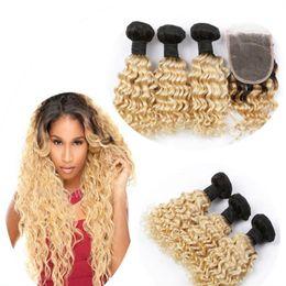 Wholesale Brazilian Blond Weave - 8A brazilian blond hair with closure 3 bundles with 4*4 lace closure 1b 613 dark roots ombre human hair with lace closure
