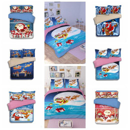 Wholesale Cartoon Bedding Queen - 15 Styles Christmas Bedding Sets Cartoon Santa Claus Reindeer Duvet Covers for King Size Bedding Duvet Cover Pillow Cover Gift CCA7976 1set