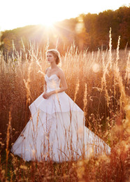 Wholesale Natural Waist Ball Gowns - Gergeous Ivory Tulle Ball Gown Wedding Dresses 2016 Fall Draped Bodice Natural Waist Bridal Gowns Overly Satin Train Modest Wedding Gowns