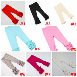Wholesale Elastic Waist Harem Pants - 14colors Girls Icing Ruffle Leggings Baby solid color delicate ruffle pants aqua pink Multi-Layer leggings capris 6size