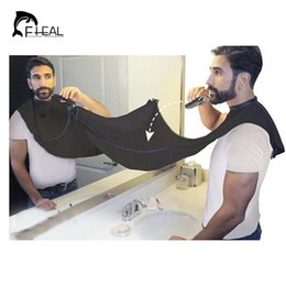 Wholesale Hair Pieces For Men - Wholesale- FHEAL Design Beard Care Shave Apron Bib Catcher Trimmer Facial Hair Cape Sink Black Shaving Aprons For Man Indoor Bathroom Clean