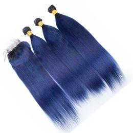 8A Two Tone 1B Blue Ombre paquetes de cabello virgen con cierre de encaje Dark Roots Blue Silky recto Ombre Hair Tracks con cierre superior desde fabricantes
