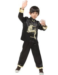 Wholesale Chinese Clothes For Boys - Shanghai Story Chinese traditional embroider dragon kungfu set for boy Chinese style boys kung fu suit sets baby boy birthday party clothing