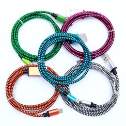 Wholesale colorful mobile - 3M Colorful Nylon Braided USB Cables for Samsung Huawei Micro USB Date Sync Charging Cable USB Cable for Android Mobile Phone