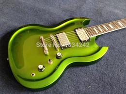 Formas de guitarra elétrica on-line-Guitarra Rara SG Duplo Cutaway Metálico Verde Guitarra Elétrica Contorno Forma Corpo Hardware De Ouro