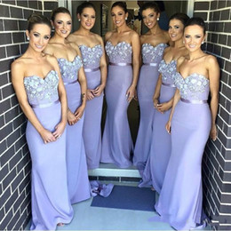 Wholesale Sweetheart Strapless Mermaid Wedding Dresses - Lilac Lace Applique Long Bridesmaid Dresses Prom Gowns 3D Flowers bridesmaid gowns Wedding Guest Dress Sweetheart Sash Satin Party Dresses
