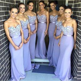 Wholesale Strapless Bridesmaid Gown Lace - Lilac Lace Applique Long Bridesmaid Dresses Prom Gowns 3D Flowers bridesmaid gowns Wedding Guest Dress Sweetheart Sash Satin Party Dresses