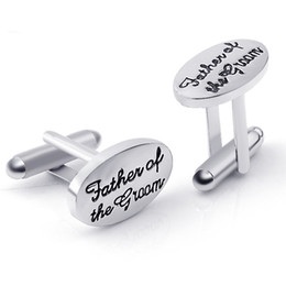 Wholesale Grooms Wedding Gifts - Father's Wedding Gift Tuxedo Stylish Cufflinks Silver Plated Oval Handstamped Father of the Groom Bride French Shirt Cuff Links