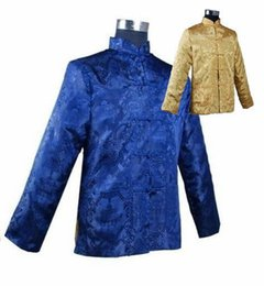 Wholesale Chinese Silk Satin Jackets - Fall-Blue Gold Novelty Reversible Men's Kung Fu Jacket Chinese Vintage Silk Satin Coat Two-Sided Wear Clothing M L XL XXL XXXL MJ064