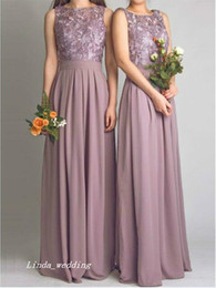 Wholesale Long Dusty Rose Dress - Dusty Rose Bohemian Bridesmaid Dress Formal Applique Chiffon Floor Length Long Maid of Honor Dress Wedding Party Gown