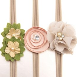 Wholesale Wholesale Skinny Satin Headbands - Newborn flower headband skinny soft nylon headband satin chiffon flower girl headband Photography Props Hair Accessories 3pcs set